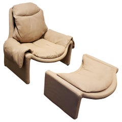 P60 Lounge Chair and Ottoman by Vittorio Introini for Saporiti