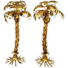 Paar of Beautiful 1980s Original Brass Palm Floor Lamp by Hans Kögl