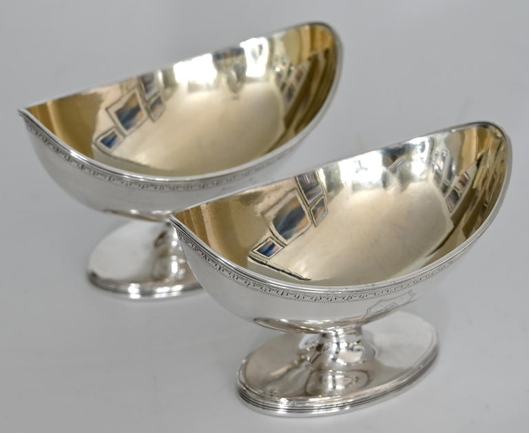 George III Pair Of 18th Century Saliers London 1790 Mm Henry Chawner Sterling Silver For Sale