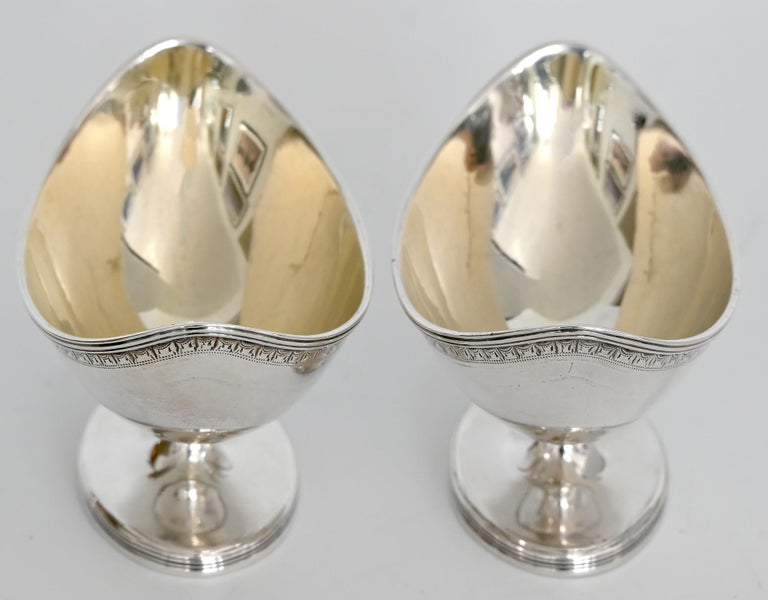 English Pair Of 18th Century Saliers London 1790 Mm Henry Chawner Sterling Silver For Sale