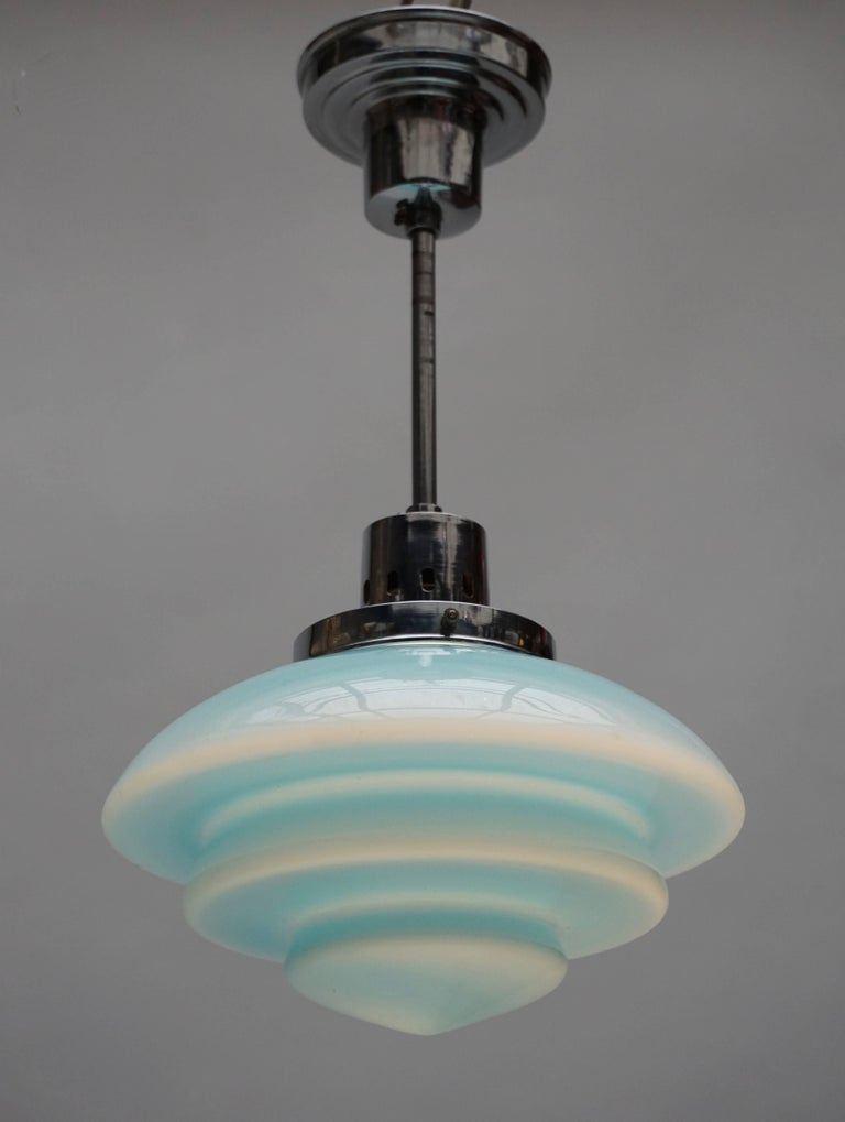 20th Century Paavo Tynell Art Deco Pendant Light in Glass for Taito Oy, 1940s For Sale