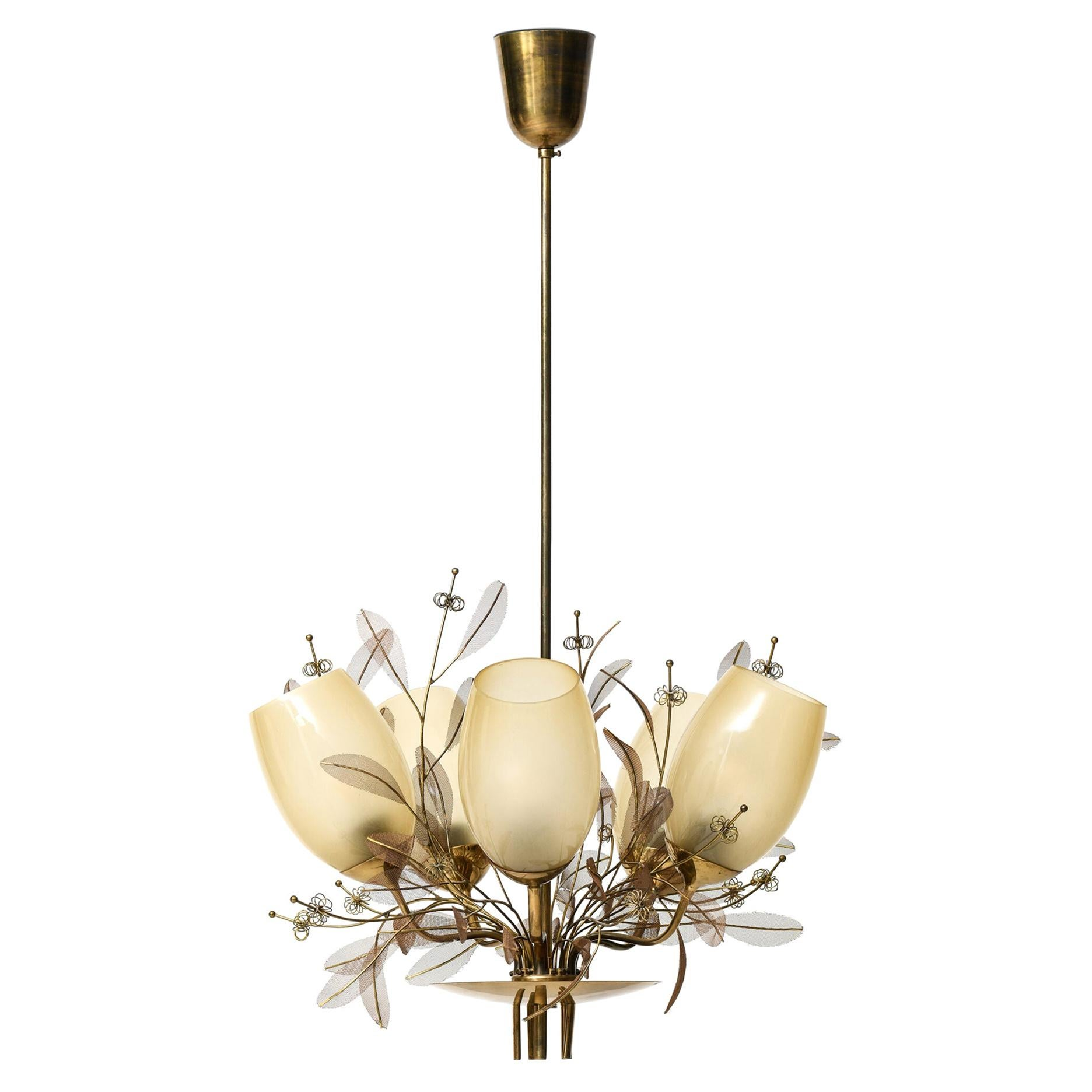 Paavo Tynell Ceiling Lamp Model 9029/5 Produced by Taito Oy in Finland