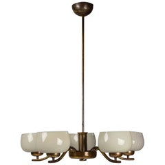 Paavo Tynell Chandelier for Taito Brass & Blown Glass Mid-Century Modern, 1940s