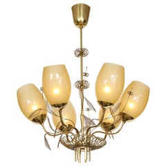 Paavo Tynell Chandelier Model 9029/6 in Brass and Amber Glass