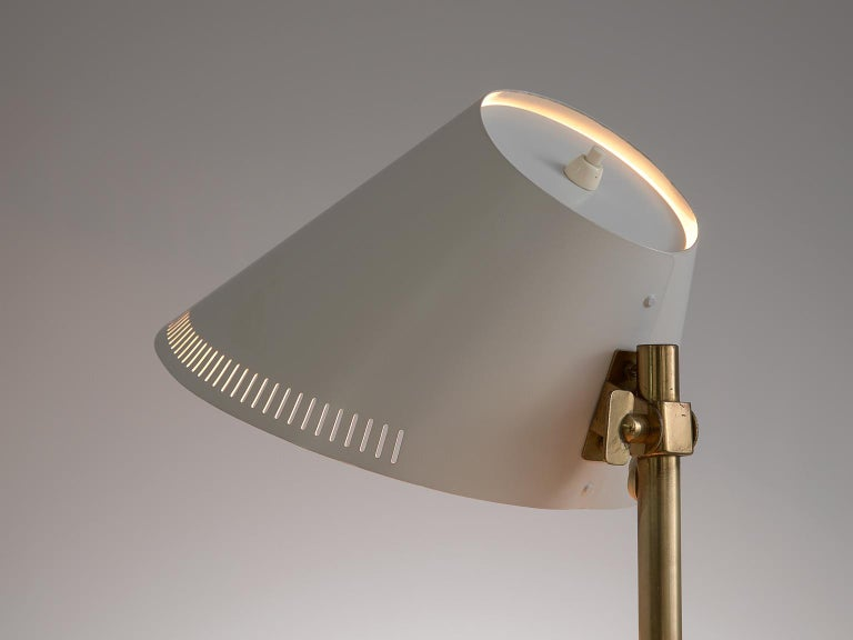 Mid-Century Modern Paavo Tynell Desk Light in Brass and White Metal For Sale