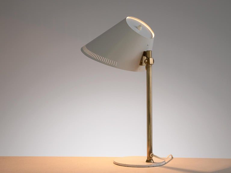 Finnish Paavo Tynell Desk Light in Brass and White Metal For Sale