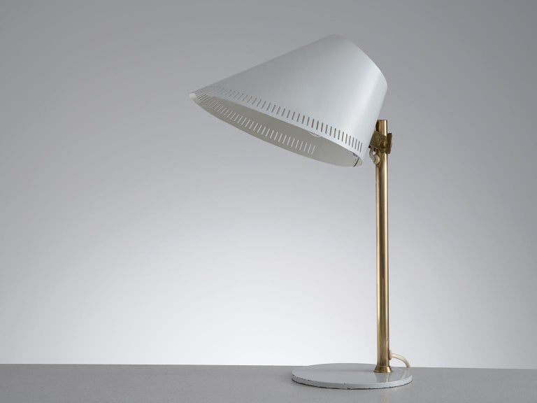 Mid-20th Century Paavo Tynell Desk Light in Brass and White Metal For Sale