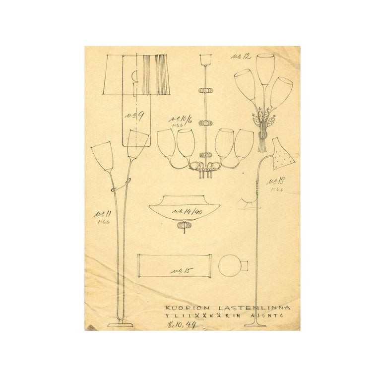 Paavo Tynell Five Arm Brass Chandelier Designed for Kuopio Hospital, Taito, 1949 For Sale 4