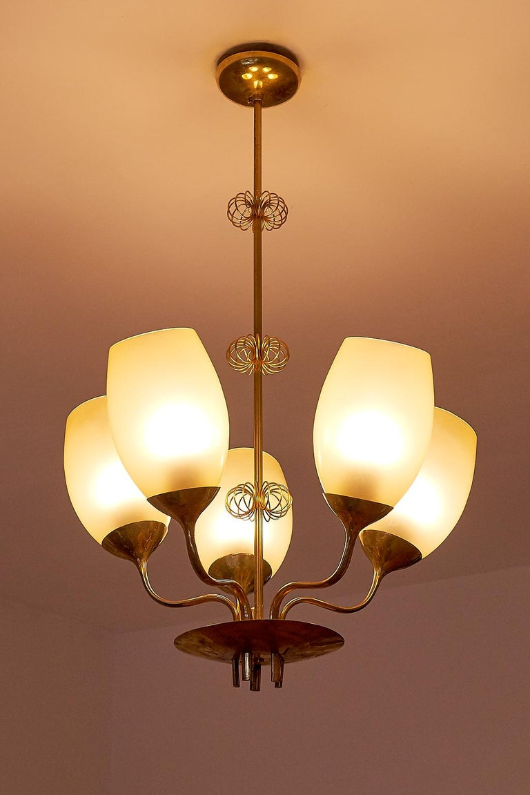 Scandinavian Modern Paavo Tynell Five Arm Brass Chandelier Designed for Kuopio Hospital, Taito, 1949 For Sale