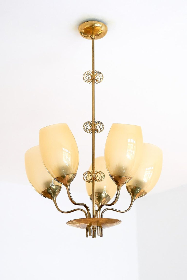Paavo Tynell Five Arm Brass Chandelier Designed for Kuopio Hospital, Taito, 1949 For Sale 3