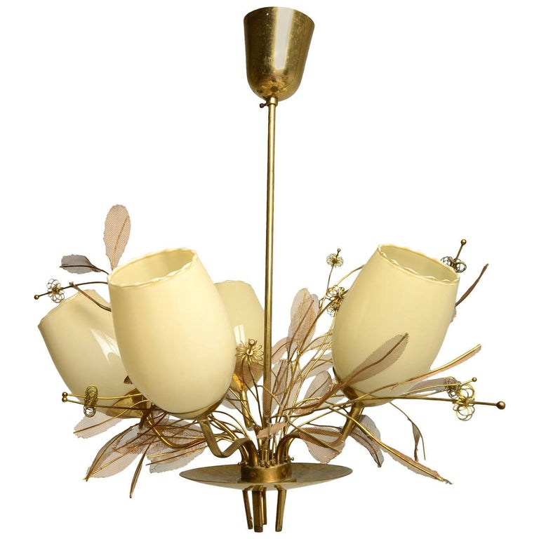 Scandinavian Modern Paavo Tynell Five-Arm Chandelier with Florals For Sale