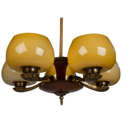 Paavo Tynell for Taito Art Deco Chandelier in Walnut & Yellow Ochre Glass, 1930s