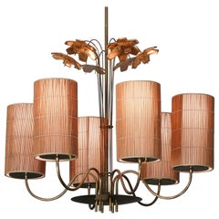 Paavo Tynell, Large Chandelier with Six Snowflakes, Brass, Reed, Taito OY, 1940s