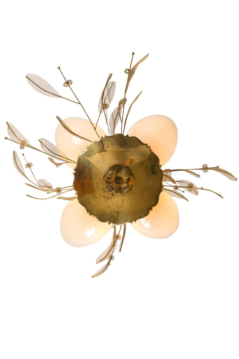 Scandinavian Modern Paavo Tynell Model 9029/4 Brass & Glass Floral Chandelier for Taito Oy, Finland For Sale