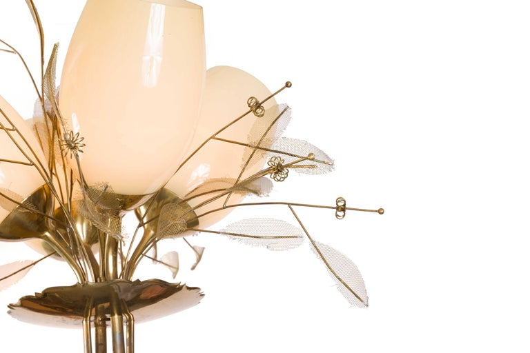 Paavo Tynell Model 9029/4 Brass & Glass Floral Chandelier for Taito Oy, Finland In Good Condition For Sale In New York, NY