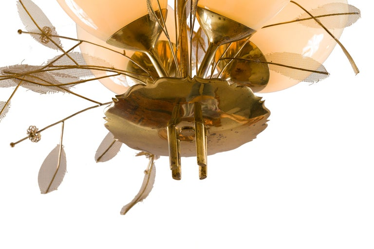 Paavo Tynell Model 9029/4 Brass & Glass Floral Chandelier for Taito Oy, Finland For Sale 1