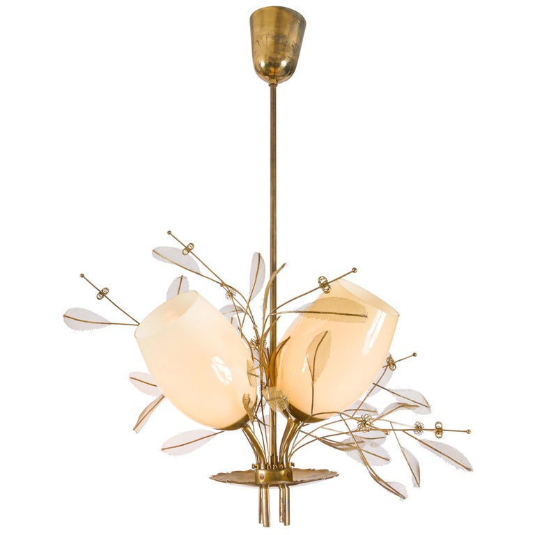Paavo Tynell Model 9029/4 Brass & Glass Floral Chandelier for Taito Oy, Finland For Sale
