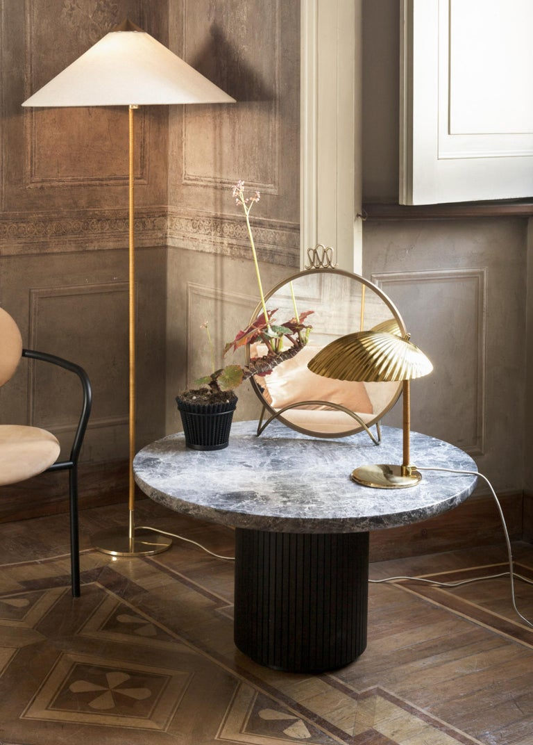 Finnish Paavo Tynell Model 9602 Brass and Rattan Floor Lamp For Sale