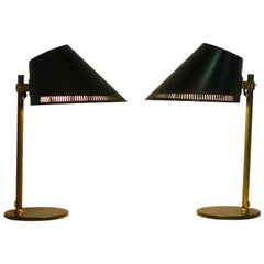 Paavo Tynell, Pair of Desk Lamps with Black Enamel Shades, Idman Production