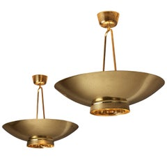 Paavo Tynell Pair of Pendant Lamps Model '9060' in Brass
