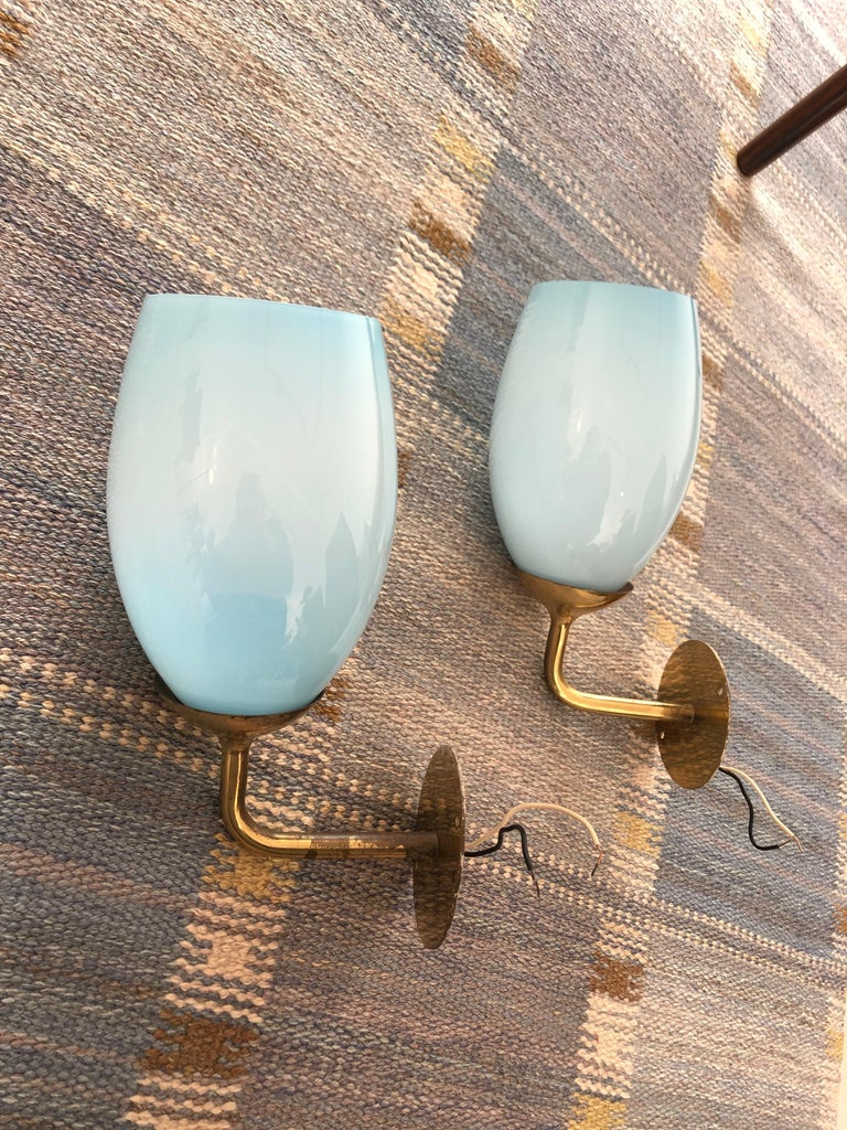 Scandinavian Modern Paavo Tynell Pair of Wall Lights for Taito Oy, 1940s