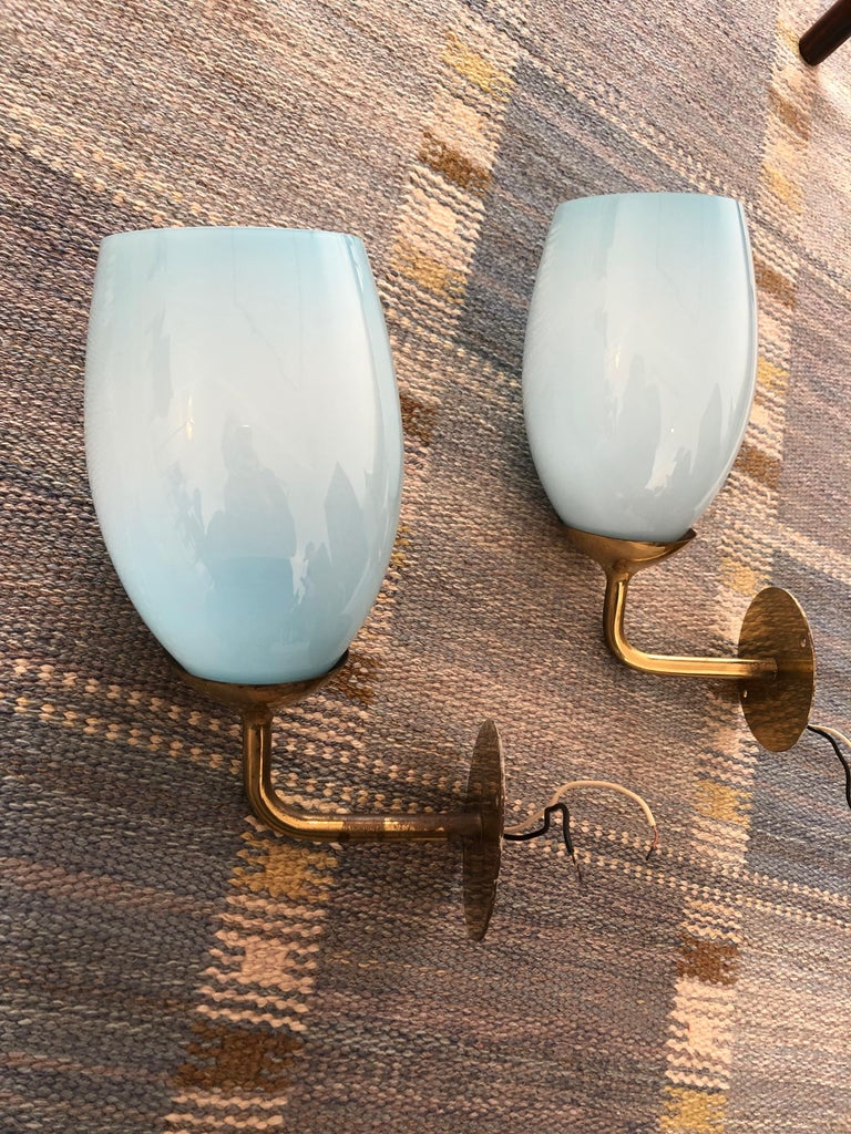 Finnish Paavo Tynell Pair of Wall Lights for Taito Oy, 1940s