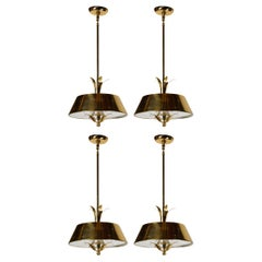 Paavo Tynell Pendant Lamps in Perforated Brass for Litecraft Mfg Corp, Set of 4