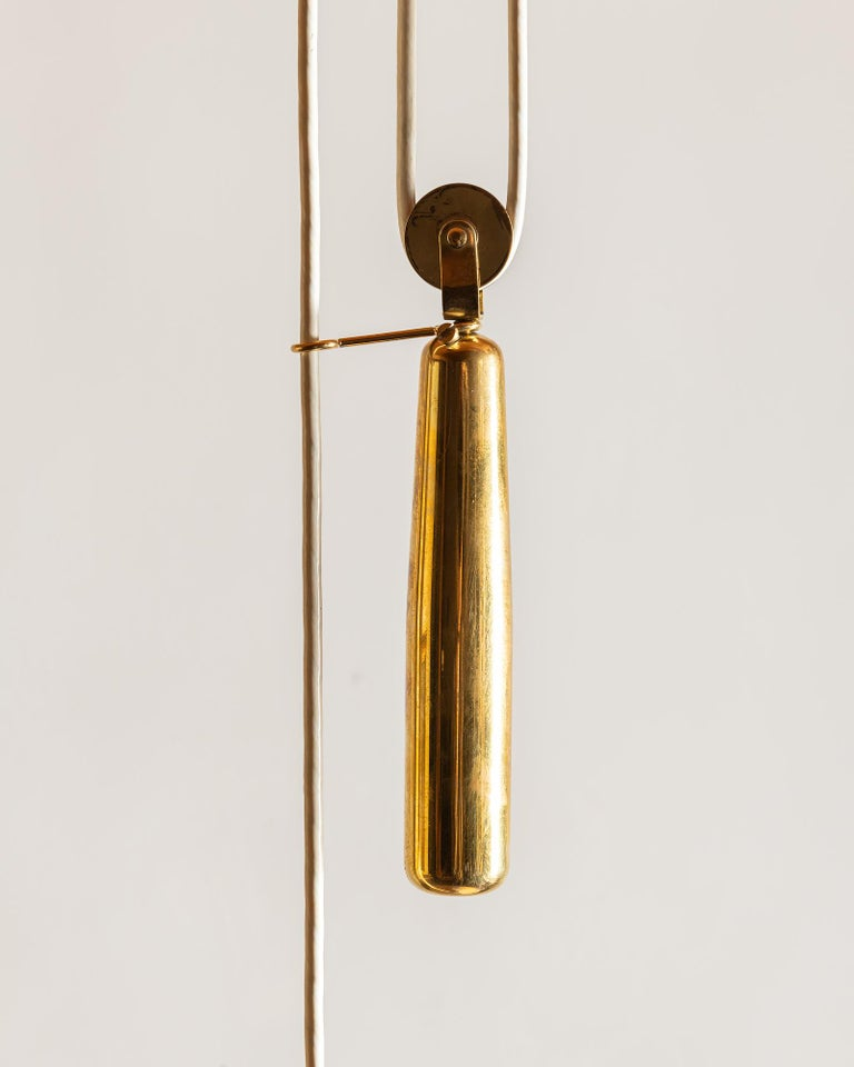 Finnish Paavo Tynell Rare Linen and Brass Pendant Lamp for Taito Oy, 1940s