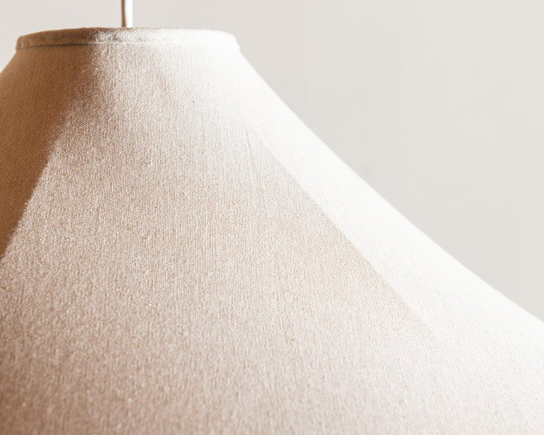 Paavo Tynell Rare Linen and Brass Pendant Lamp for Taito Oy, 1940s 1