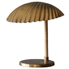"Paavo Tynell, Rare ""Simpukka"" Table / Desk Lamp, Brass, Cane, Taito OY"