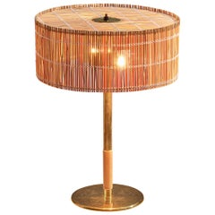 Paavo Tynell Rare Table Lamp in Brass and Straw