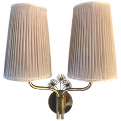 Paavo Tynell, Rare Wall Light, Brass, Original Fabric Shades and Glass, 1950s