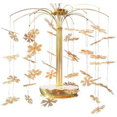 Paavo Tynell Snowflake Brass Chandelier, Taito Oy Model No. 9041, circa 1950s
