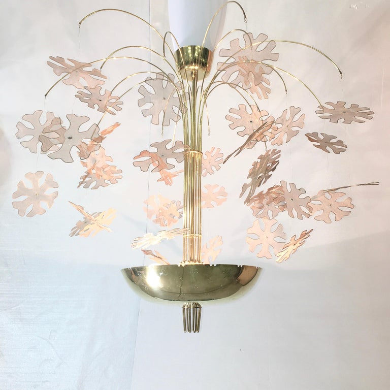 Mid-Century Modern Paavo Tynell Snowflake Chandelier by Taito Oy Finland For Sale