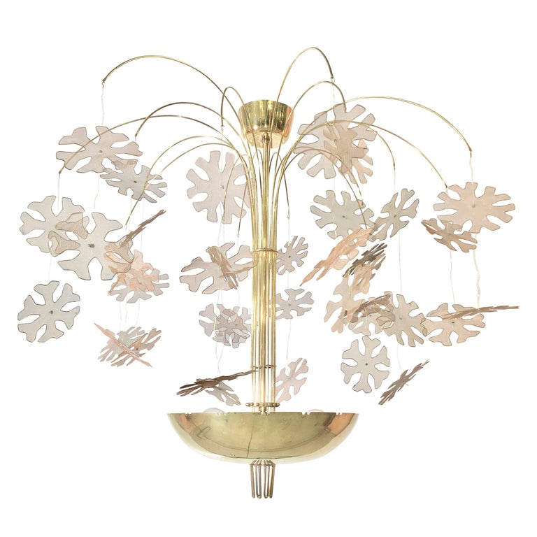 Paavo Tynell Snowflake Chandelier by Taito Oy Finland For Sale