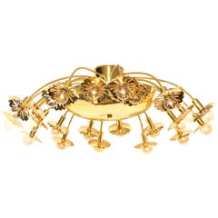 Paavo Tynell Style 24-Light Pierced Brass Ceiling Fixture