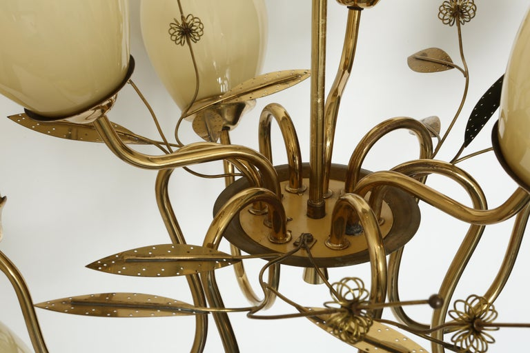 Brass Paavo Tynell Style Chandelier by Itsu For Sale