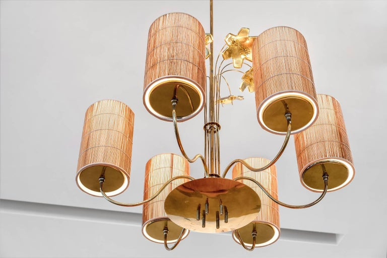 Mid-20th Century Paavo Tynell, Large Chandelier with Six Snowflakes, Brass, Reed, Taito OY, 1940s For Sale