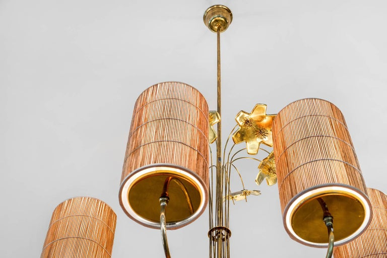 Paavo Tynell, Large Chandelier with Six Snowflakes, Brass, Reed, Taito OY, 1940s For Sale 2