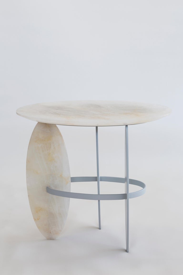 Organic Modern Pablina Side Table Pure Quartz Crystal Stone Handmade Sculpted For Sale