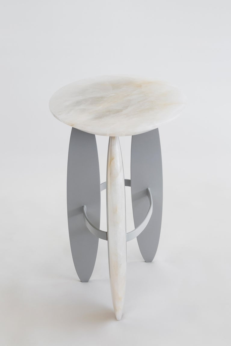Brazilian Pablina Side Table Pure Quartz Crystal Stone Handmade Sculpted For Sale