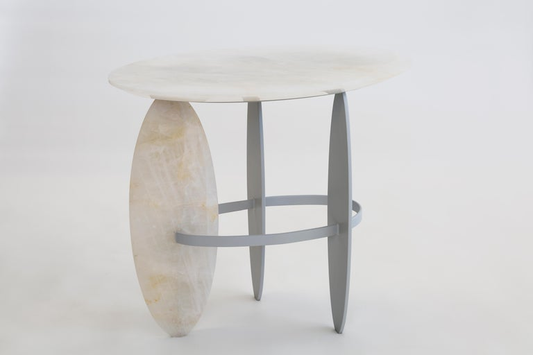Lacquered Pablina Side Table Pure Quartz Crystal Stone Handmade Sculpted For Sale