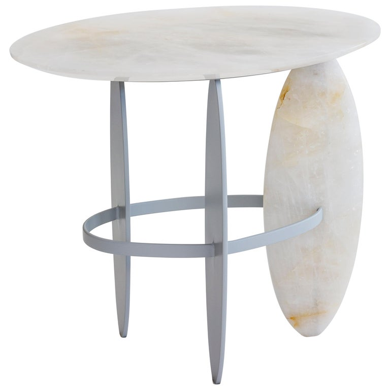 Pablina Side Table Pure Quartz Crystal Stone Handmade Sculpted For Sale