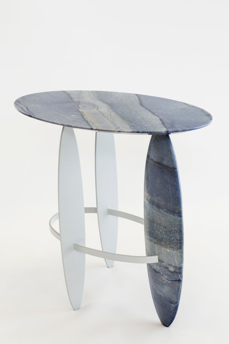 Modern Pablina side table set    HAND SCULPTED QUARTZITE AND QUARTZ For Sale