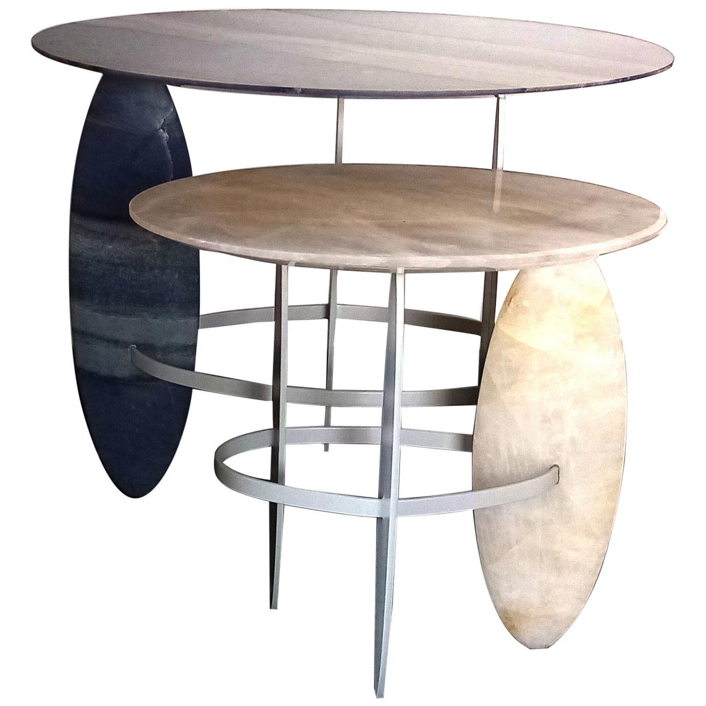 Pablina side table set    HAND SCULPTED QUARTZITE AND QUARTZ