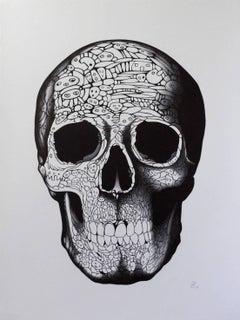 """Adam"" - skull pen drawing"