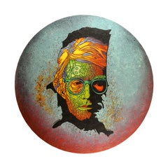 "Andy Warhol's portrait ""On The Map"" - Acrylic on wood, blue circle wall art"
