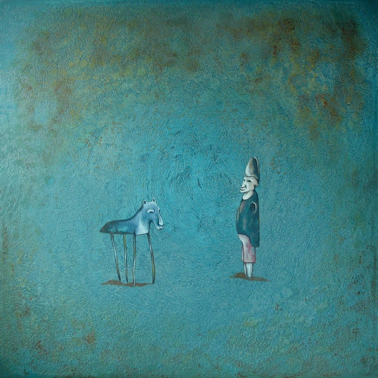 "Pablo Caviedes Animal Painting - ""After The Show"" - Acrylic painting, blue tones"