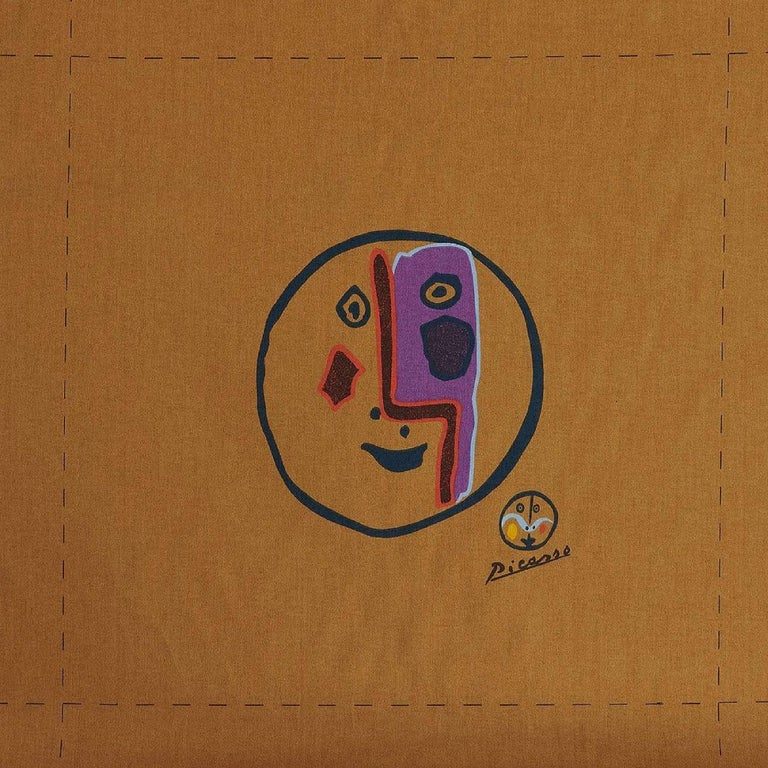 Mid-Century Modern Pablo Picasso, Carolyn Winters, Café Picasso Modern Textile, England, UK, 1970s For Sale