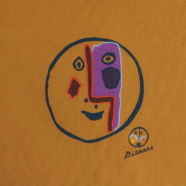English Pablo Picasso, Carolyn Winters, Café Picasso Modern Textile, England, UK, 1970s For Sale
